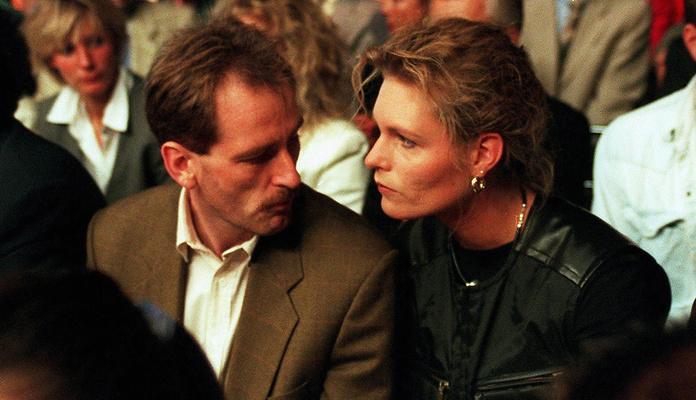 Michael Zimmermann i Katrin Krabbe podczas walki Dariusza Michalczewskiego w Hamburgu w 1996 r. | Fot. Bongarts/Getty Images